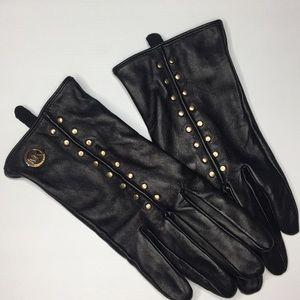 Michale Kors black leather studded gloves